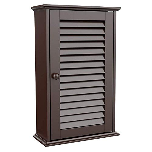 Selva 3 Tier Storage Wall Mounting Single Cabinet Cupboard w/Louver Shutter Door | for Bathroom Kitchen Toilet Washroom Laundry Mudroom | Heavy Duty Adjustable Magnetic Lock Easy Clean | Waterproof (Louver Door Bathroom Wall Cabinet)