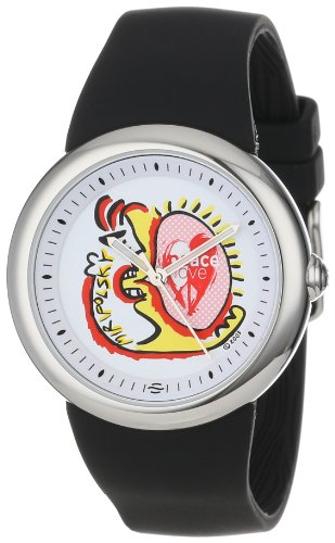 PeaceLove Unisex F36S-PL-B  Round Stainless Steel Black Silicone Strap and ''Miripolsky'' Art Dial Watch by Love & Peace