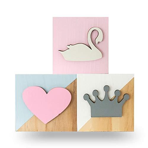 (3Pcs Square Blocks Ornament Wooden Cube Decorative Nordic Style Solid Wood Blocks Photography)