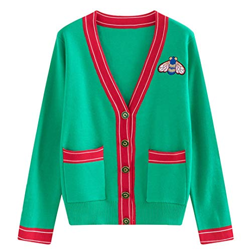 QINJLI Women's Knit Cardigan, Spring and Autumn Bees Letters Embroidered Stripes V-Neck Long Sleeve Jacket