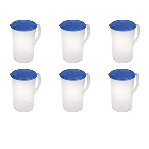 Base Round Hinged (Sterilite 04884106 1 Gallon Round Pitcher, Blue Sky Lid & Tab with See-Through Base, 6-Pack)