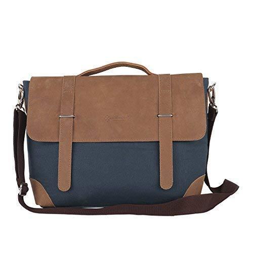 Almolfa Leather Canvas 15 #34; Laptop Messenger Bag  Blue