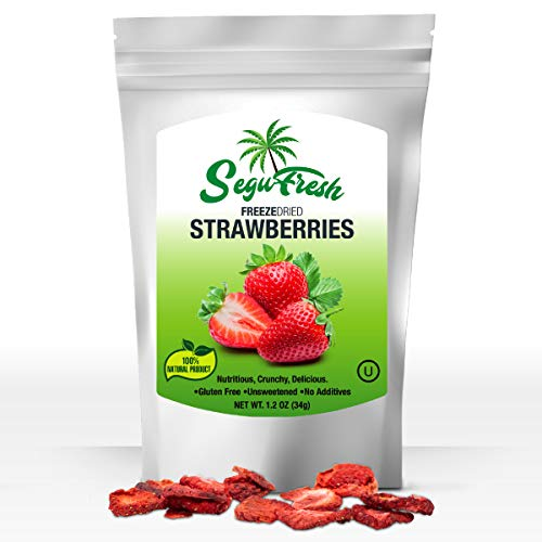 Segufresh Freeze Dried Strawberries (2 Pack) 100% Natural Food Product, Nutritious And Delicious Crunchy Gluten-free No Sugar Unsweetened Fruit, No Additives, Healthiest Snacks Pack Ever In Resealable ()