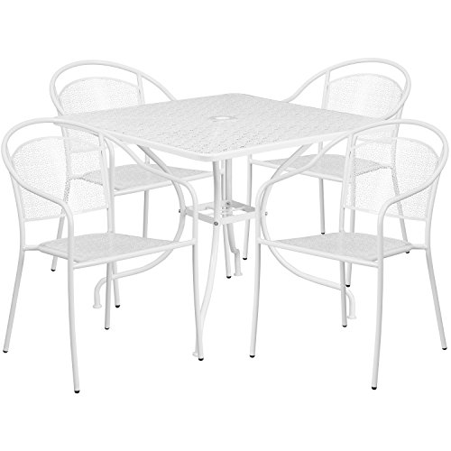 "Flash Furniture 35.5"" Square White Indoor-Outdoor Steel Patio Table Set with 4 Round Back Chairs Review"
