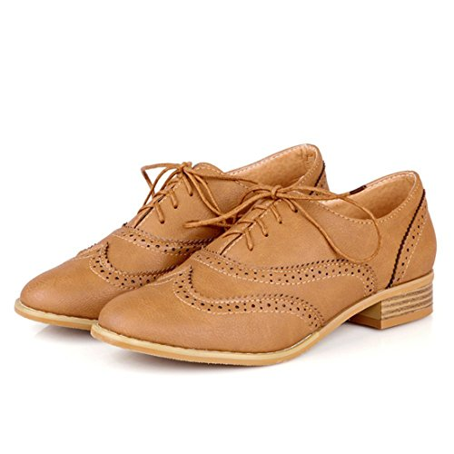 Susanny Yellow Wingtip Brogue up Sweet Carving Low Dress Heel PU Modern Women Lace Oxfords Shoes Classic rqUwSr