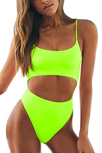 Meyeeka Womens Sexy Scoop Neck Straps Cutout Lace up Back High Waist Thong 1PCS Padded Swimsuit M Bright Yellow