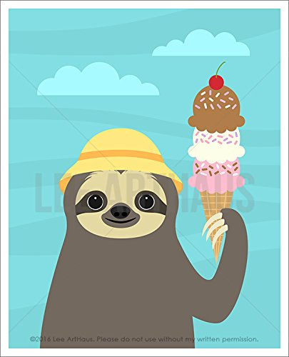 14J - Sloth Holding Triple Scoop Ice Cream Cone Unframed Wall Art Print By Lee Arthaus -