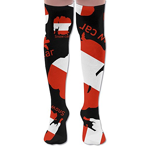 Austrian Flag Snow Car Women Long Striped Socks Thight High - Delivery Usps Time Average