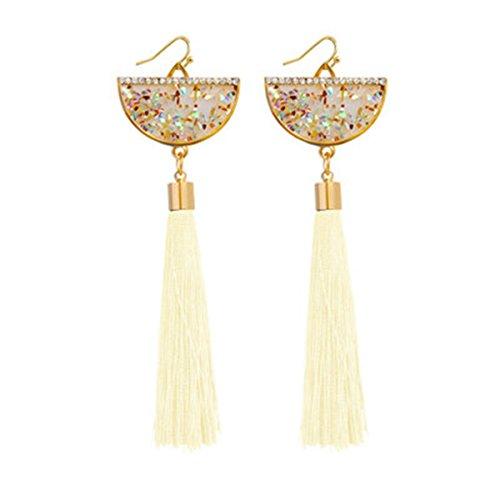 Exaggerated alloy resin tassel earrings bohemian style fashion popular multicolor earrings (white01) -