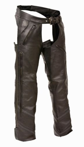 MEN'S MOTORCYCLE REFLECTIVE VENTED LEATHER RIDING CHAP PANTS SOFT BLACK