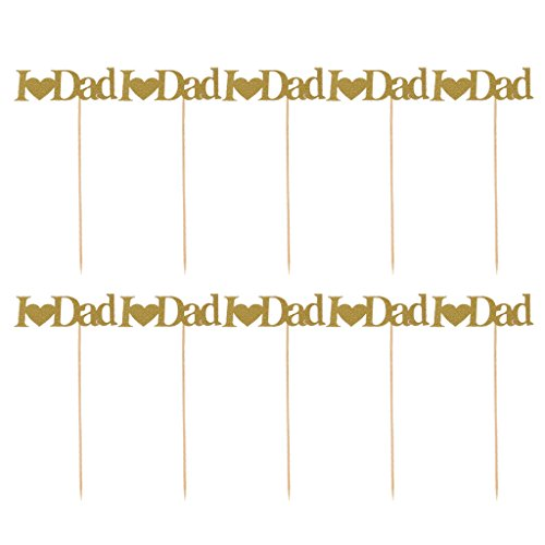 MonkeyJack Pack of 10 Glitter Paper I love Mum or Dad Heart Mother Day Father Day Cake Cupcake Topper Birthday Party Food Sticks - I Love Dad (Fathers Day Cupcakes)