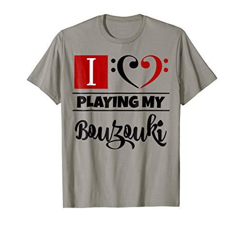Double Black Red Bass Clef Heart I Love Playing My Bouzouki T-Shirt