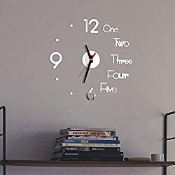 Frameless Large 3D DIY Wall Clock, Modern Design Creative Mute Wall Clock for Home Living Room Office Decoration Gifts Mirror Surface Sticker Home Decor Clock (Silver)
