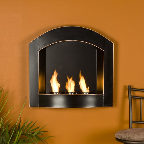 SEI Black Arch Top Wall Mount Gel Fuel Fireplace