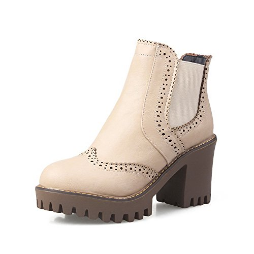 AllhqFashion Womens High-Heels Solid Round Closed Toe Soft Material Pull-On Boots Apricot cp2yxSxTwJ