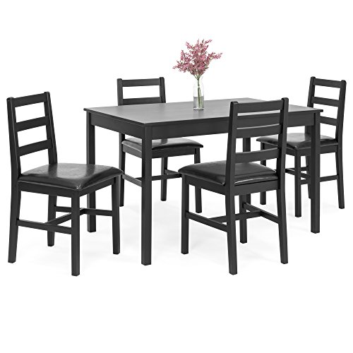 Best Choice Products 5-Piece Wooden Breakfast Table Furniture Set for Dining Room, Kitchen w/ 4 Cushioned Chairs - Black