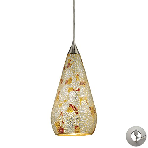 Alumbrada Collection Curvalo 1 Light Pendant In Satin Nickel And Silver Multi Crackle Glass - Includes Recessed Lighting Kit