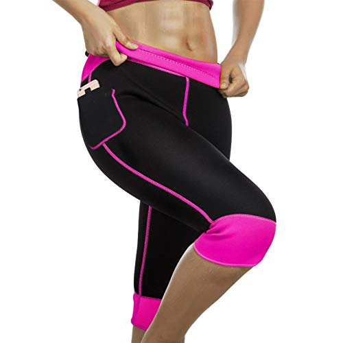 Womens Weight Loss Hot Neoprene Sauna Sweat Pants with Side Pocket Workout Thighs Slimming Capris Leggings Body Shaper (Black-Pink, M) (Best Weight Loss Photos)