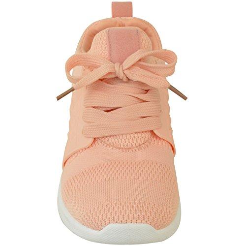 Fashion Thirsty Womens Sport Fashion Sneakers Fitness Flat Shoe Size Peach Knit azsC4AZ37