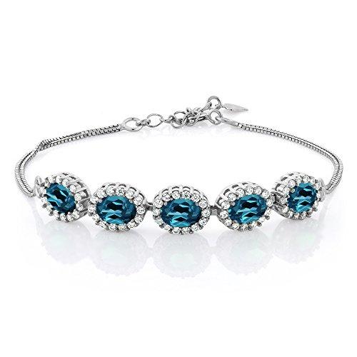 5.54 Ct Oval London Blue Topaz 925 Sterling Silver Gemstone Birthstone Bracelet