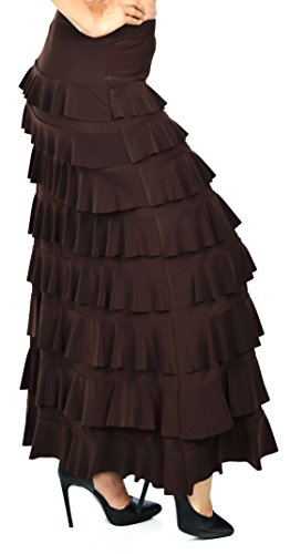 Plus Tiered Skirt - Dare2BStylish Women Waterfall 8 Tiered Boho Layered Maxi Skirt | Reg & Plus Sizes (1X, Brown)