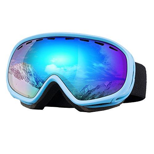 Unilamp Ski Goggles, Over Glasses Ski/Snowboard Goggles PRO - Frameless Detachable Lens Anti-Fog 100% UV Protection for Men, Women & Youth (Blue 2.36