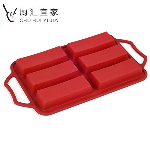 C.H.Y.JOR 6-Cavity Non-Stick Silicone Cake Mold Baking Pan Trays for Toast Bread Loaf Brownie Cornbread Fondant Bundt Cake Bakeware DIY Moulds With Sturdy Stainless Steel Handle & Frame (Wine Red)