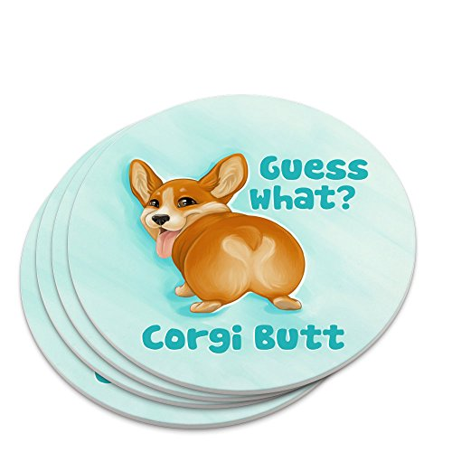 Guess What Corgi Butt Funny Joke Novelty Coaster Set