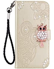 Amocase Wallet Case with 2 in 1 Stylus for Samsung Galaxy Note 20 Ultra,3D Bling Gems Owl Magnetic Mandala Embossing Strap PU Leather Card Slot Stand Case for Samsung Galaxy Note 20 Ultra - Gold