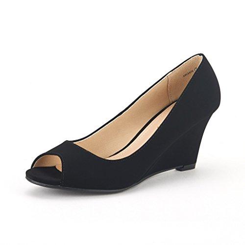 DREAM PAIRS CELESTE Women's Elegant Classy Open Toe Mid Heel Wedge Platform Pumps Slip On Shoes New BLACK-NUBUCK SIZE 9