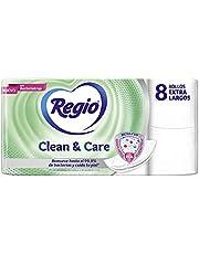 Regio Regio Papel Higiénico Clean & Care, 8 Rollos, Rollos Extra Largos, Hojas Dobles, color, 8 count, pack of/paquete de