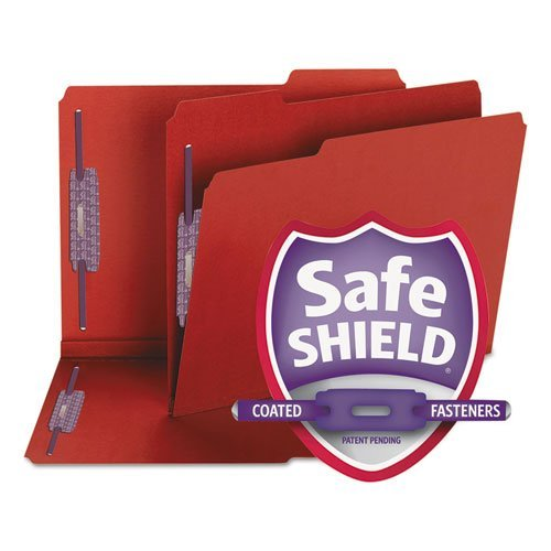 SMD14936 - Smead 14936 Bright Red Colored Pressboard Fastener File Folders with SafeSHIELD Fasteners by Smead
