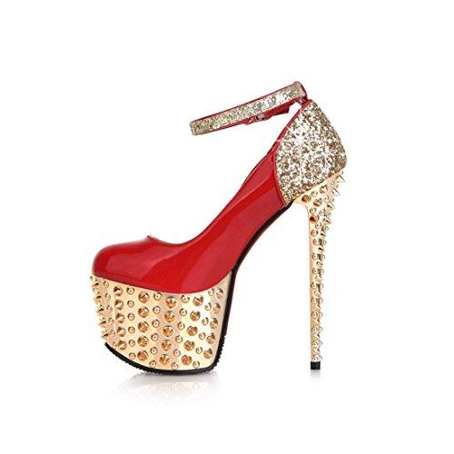 para Negro de de Negro mujer negro Piel UH Zapatos vestir Rote OwXPc0x