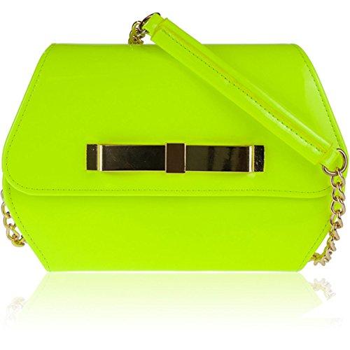 Xardi London, borsa a tracolla brevettata, da donna, da sera, per eventi Neon Yellow