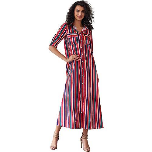 myodress Women's Boho Half Sleeve Rainbow Striped Front Pocket Button Down Single Breasted Long Maxi Dress