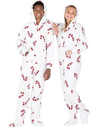 Footed Pajamas - - Candy Cane Lane Kids Hoodie Chenille Onesie - Small