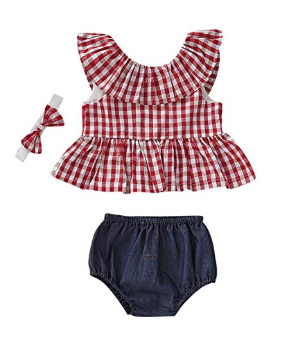Newborn Baby Girl Summer Dress Tops+Tutu Pants 2PCS Outfits Clothes Sunsuit Set 0-24M (12-18 Months, Plaid)