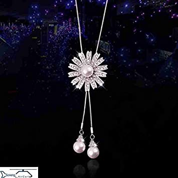 7f8be9355c42 Amazon.com   Generic small White neck sweater chain necklace pendant  fashion women girl pearl pendant necklace women dress accessories chain  hanging ...