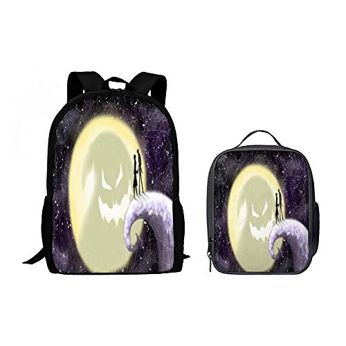 SARA NELL Backpack 2 Set - Octopus Tail Halloween Couple Pumpkin Moon Face School Backpacks with Lunch Box Luch Backpack Bag 2 Piece Backpack for Boys Girls ()