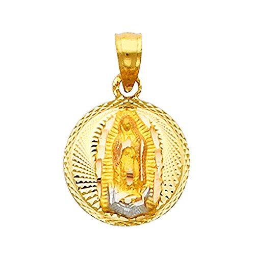 """Petits Merveilles D'amour - 14 ct Or 585/1000 Classique """"Notre-Dame de Guadalupe Dame de"""" Pendentif- 0,50 pouces"""