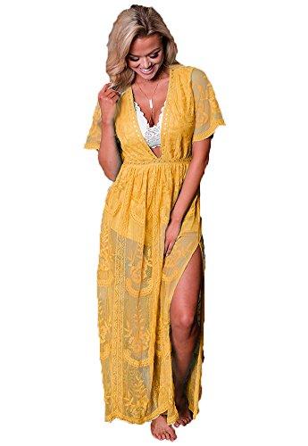 Eleter Women's Deep V-Neck Lace Romper Short Sleeve Long Dress (Large, Yellow) by Eleter