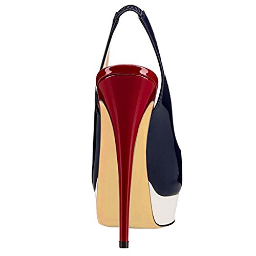 Pumps amp;burgundy Heels Blue T High Slingback Thin Platform Womens Chris Fashion B8gqwB16