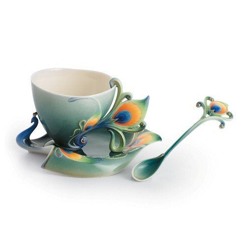 Retired Franz Porcelain Luminescence Magnificent Peacock Design Cup/Saucer/Spoon in Adorable Treasures Gift Box