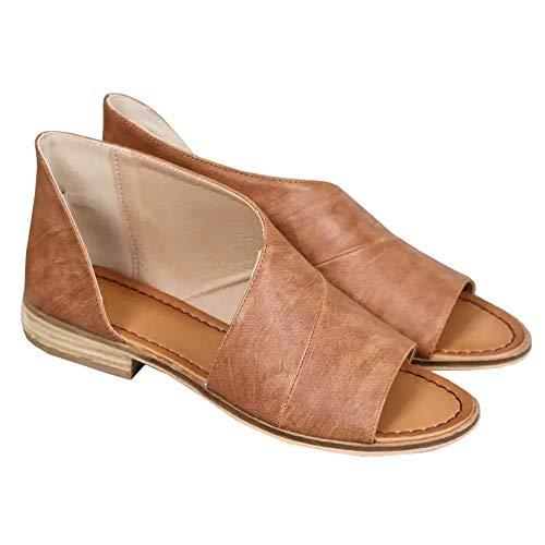 Huiyuzhi Womens Open Toe Flat Sandals Side Laser Cutout Sandal Ankle Booties Flats V brown 8.5 B(M) US