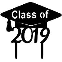 Junshion Acrílico Black Class Cake Toppers para graduados universitarios Graduación de escuela secundaria 1PC, Decoración de fiesta para adultos mayores de escuela secundaria, Suministros de fiesta de graduación 2019