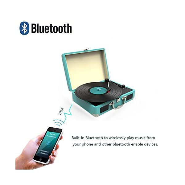 Record Player, MSTING Turntable Bluetooth for Vinyl Records 3 Speed with Two Dual Stereo Speakers Belt Drive Turntable 4