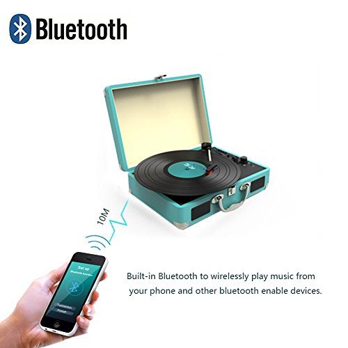 Record Player, MSTING Turntable Bluetooth for Vinyl Record 3 Speed with Two Dual Stereo Speakers Belt Drive Turntable with Headphone, RAC,USB/SD Card Recording by MSTING (Image #1)