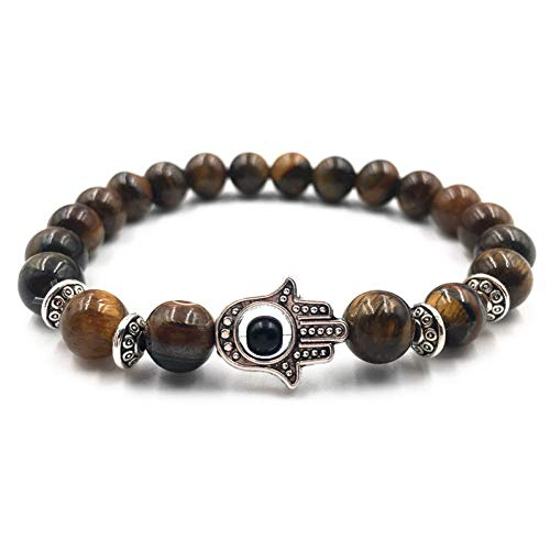 FBSL Bracelet Natural Stone Eye Bracelets for Women Men Silver Fatima Hand Bracelet Femme Tiger Eye Lava Beaded Bangle Jewelry