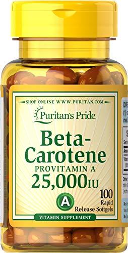 Puritans Pride Betacarotene 25000 Iu 100 Softgels, 100 Count