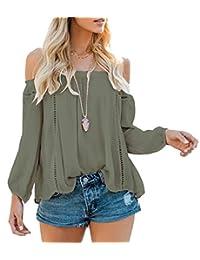 NANYUAYA Women Off Shoulder Ruffles Chiffon Top Blouse Long Sleeve Casual T Shirt